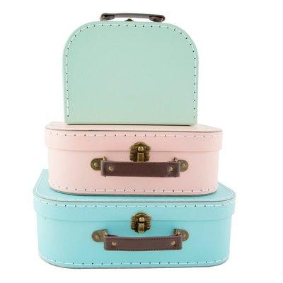 Set van 3 pastelkleurige koffertjes - Sass & Belle