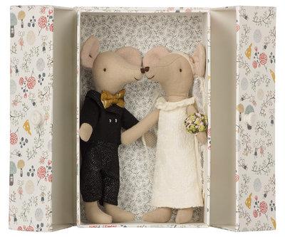 Huwelijksmuizen in een fleurige doos - Maileg