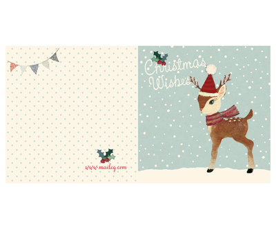 Bambi dubbele kerstkaart - Maileg