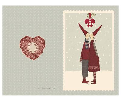 Pixy kiss, kleine dubbele kerstkaart - Maileg
