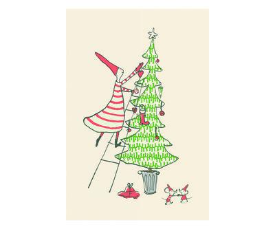 Versier de boom dubbele kerstkaart - Maileg