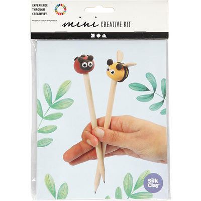 Knutselpakket Silk Clay potlood topper insecten boetseren - Creativ Company
