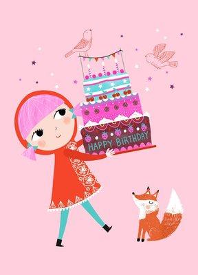Postkaart Happy Birthday girl - Petit Monkey