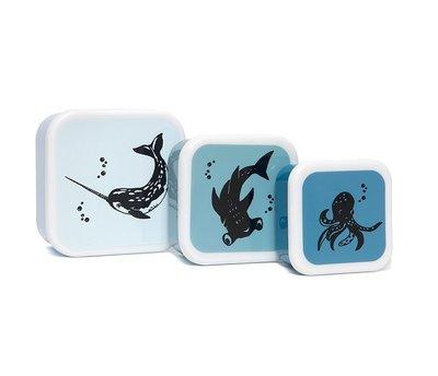 Snackdoosjes zeedieren - set van 3 - Petit Monkey