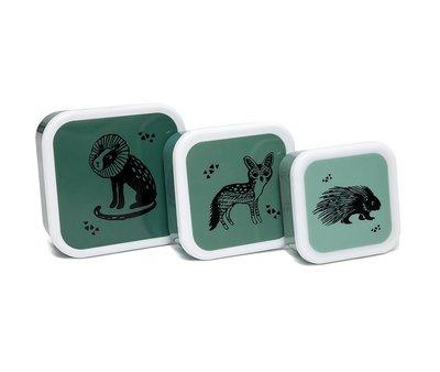 Snackdoosjes dieren groen - set van 3 - Petit Monkey