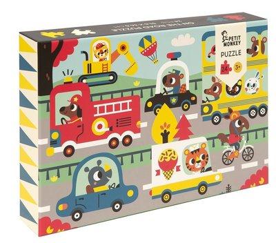 Puzzel Op de weg - 3 jaar - Petit Monkey