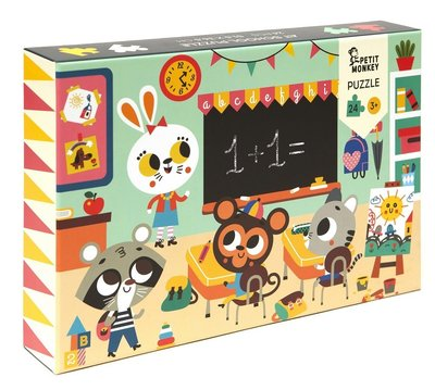 Puzzel Op school - 3 jaar - Petit Monkey