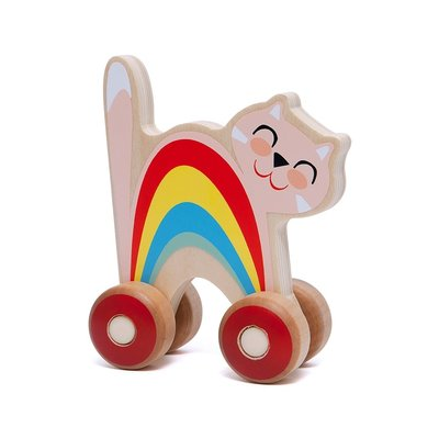 Houten duw kat - Petit Monkey