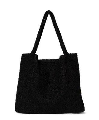 Black Bouclé teddy mom-bag